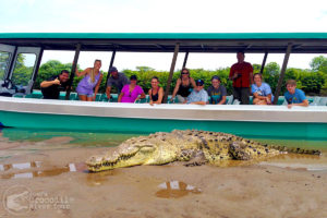 Happy tour visitors and a crocodile up-close!