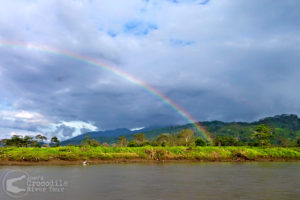 Beautiful Tarcoles River scenery with a rainbow